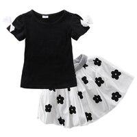 2pcs Kids Baby Girls Clothes Sets Short Sleeve T Shirt Tops Tutu Skirts Suits Kids Girls