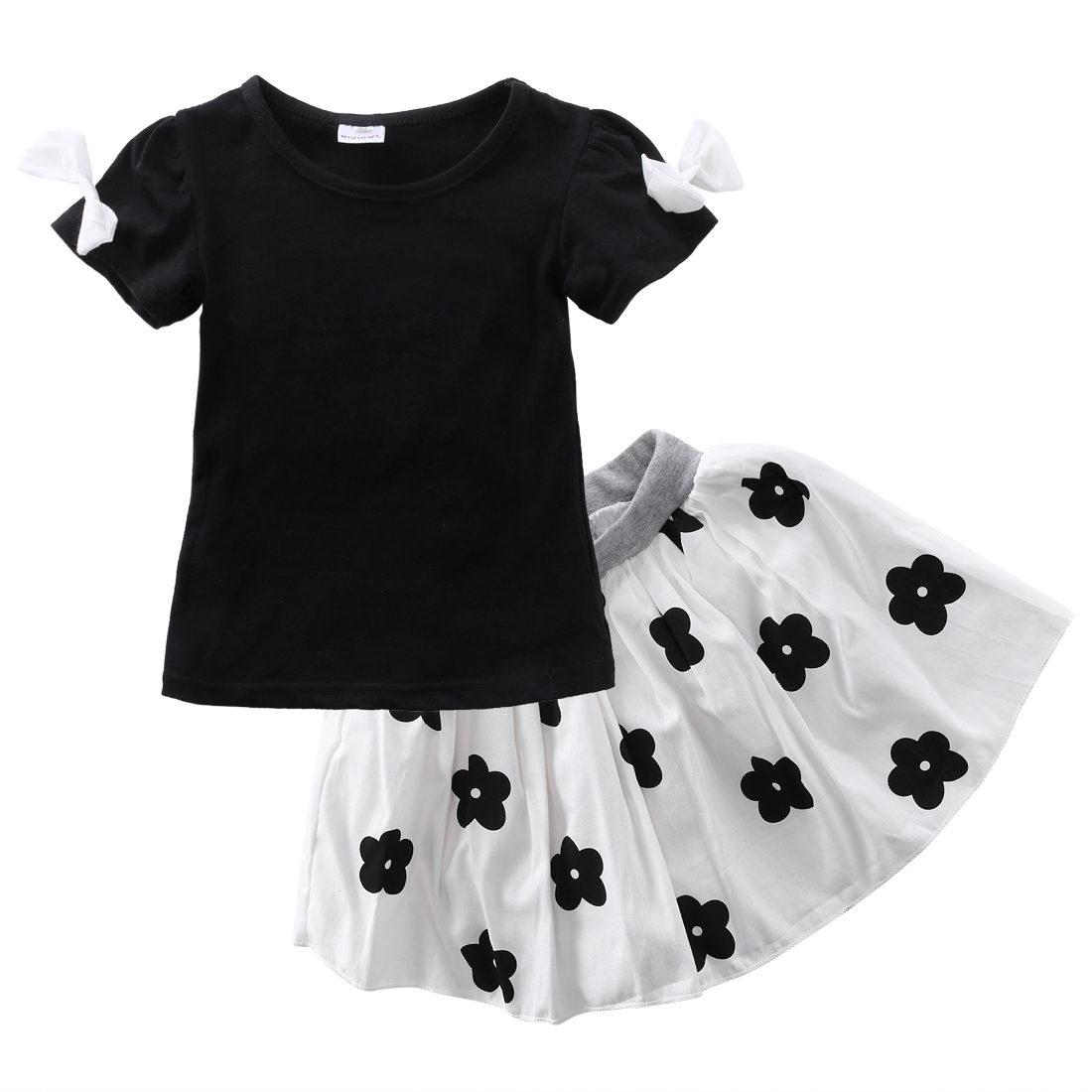 2pcs Kids Baby Girls Clothes sets Short sleeve T-shirt Tops+Tutu Skirts Suits Kids girls cute cotton summer Outfits HOT Sales 2016 new fashion boutique outfits for omika baby girls sets with 2 pcs cute print long sleeve tops bow tutu skirts size 4 12y