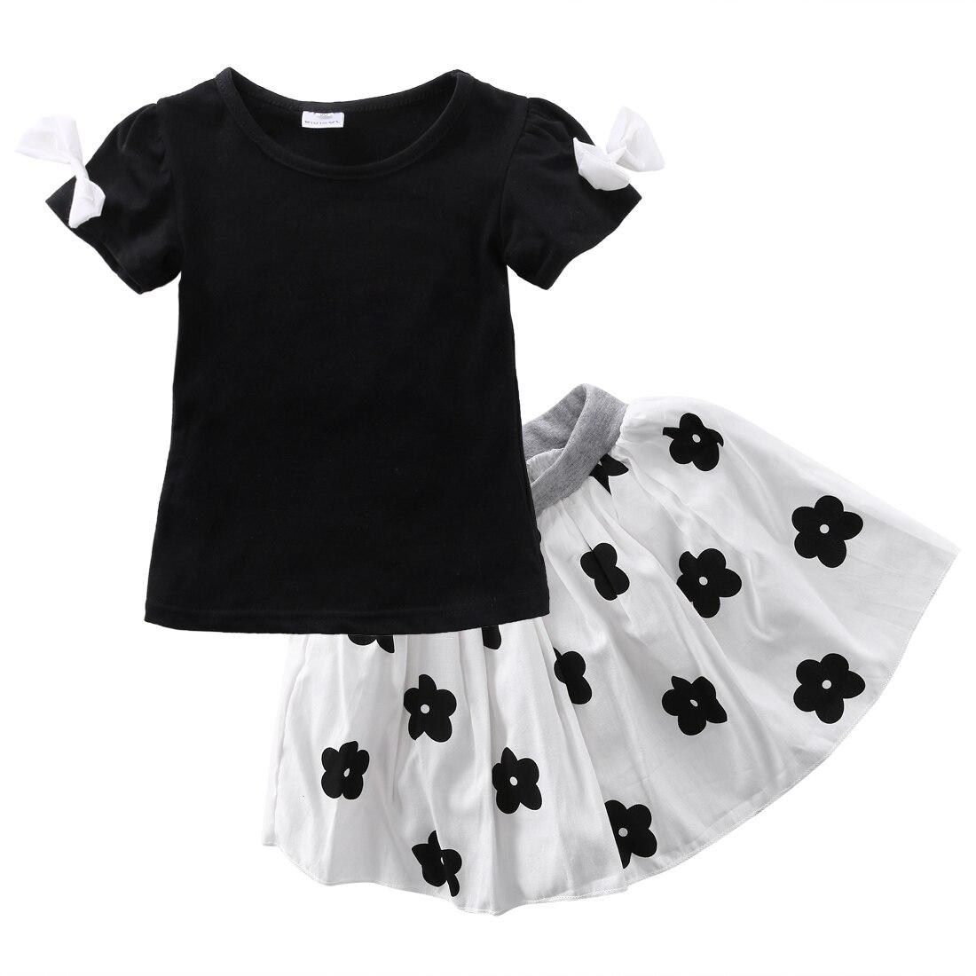 2pcs Kids Baby Girls Clothes sets Short sleeve T-shirt Tops+Tutu Skirts Suits Kids girls cute cotton summer Outfits HOT Sales