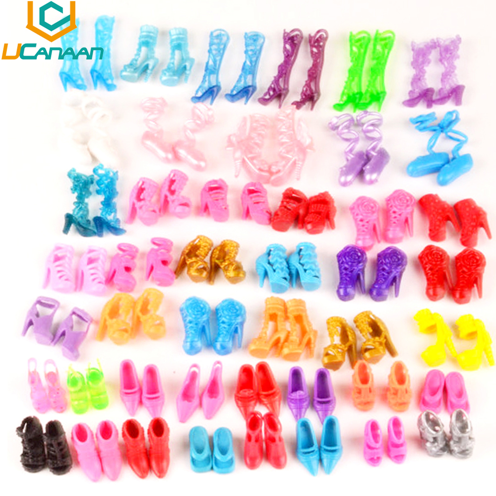 UCanaan A Lot = 60 pairs Shoes Fashion Doll Shoes Heels Sandals for Barbie Dolls Outfit Dress Best Gift for Girl DIY Accessories