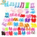 Ucanaan um lote = 60 pares de sapatos de salto alto sandálias de moda para Barbie Dolls Outfit vestido melhor presente de DIY acessórios