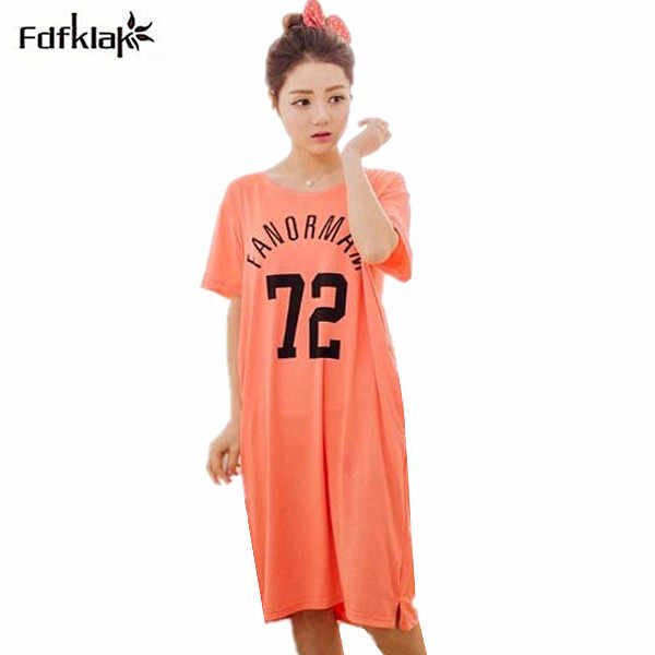 Female long nightgowns plus size women nightdress short sleeve letter print  cotton blend nightwear summer sleepwear cd2f21141