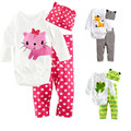 Baby Boys Girls Boys Long Sleeves Rompers + Pants + Hat Kids Homewear Cartoon Pajama Sets Infant Cotton Sleepwear