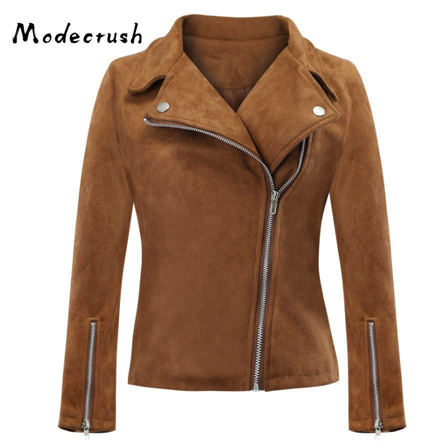 Modecrush Mulheres Oversized Faux Suede Leather Jacket Zip Feminino Turn Down Collar Outono Inverno Nova Chegada Plus Size Outerwear