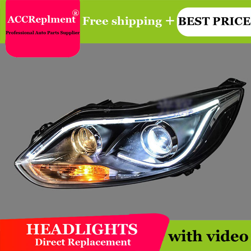 AUTO.PRO head lamps For ford focus 2012-2014 bi xenon lens LED Angel Eyes DRL H7 xenon headlights For Ford Focus car styling цена 2017