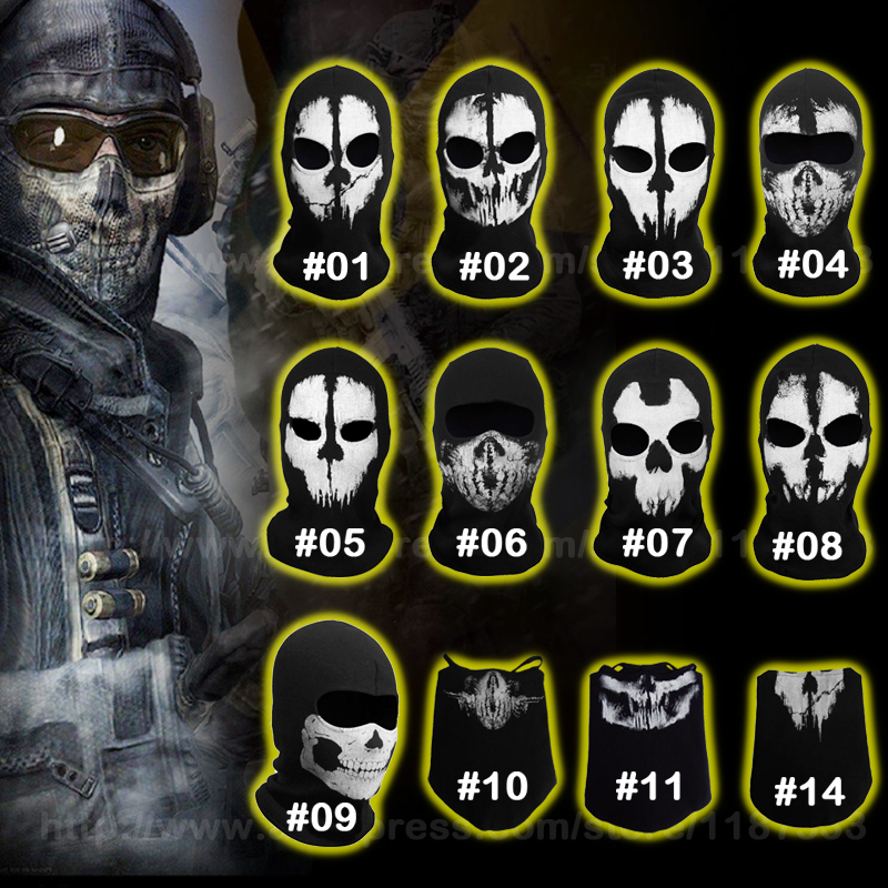 Call Of Duty Cod 10 Ghosts Logan Balaclava Ski Skull Hood: Original Balaclava Ghost Skull Mask Military Hats Airsoft