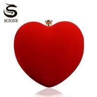 2016 Heart Shape Black Red Evening Bag Women Diamond Clutch Purse Bridal Wedding Shoulder Hand Bags