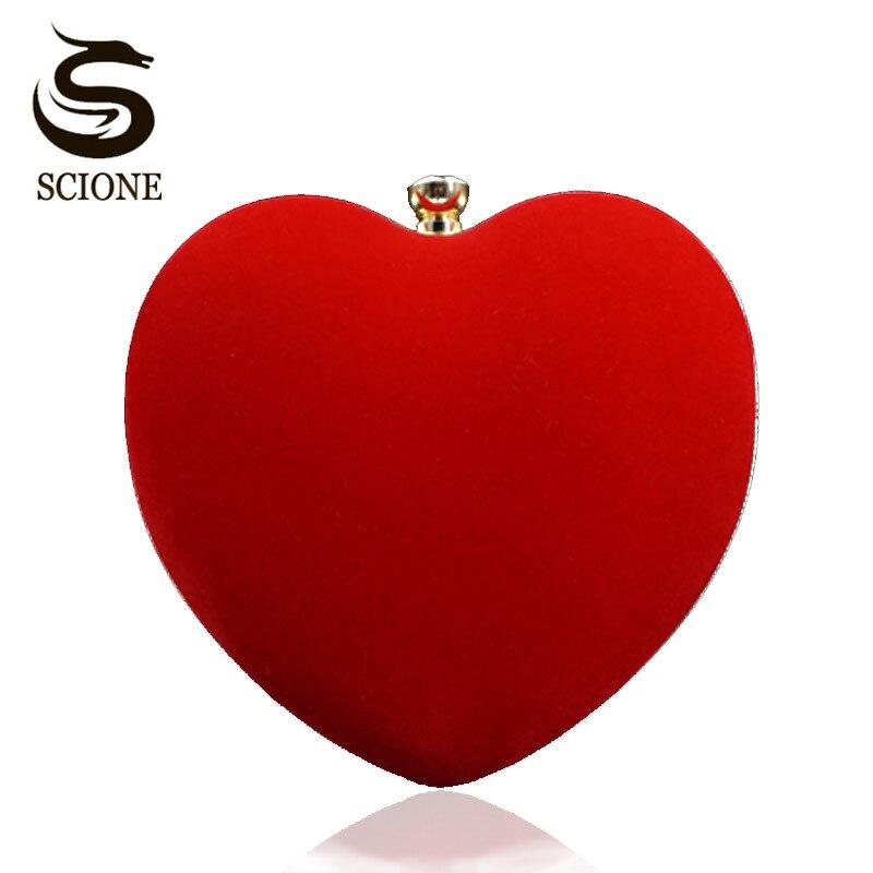 Heart Shaped Black/Red Evening Bag Women Diamond Clutch Purses Bridal Wedding Shoulder Handbag Small Dress Clutches Velvet Bags