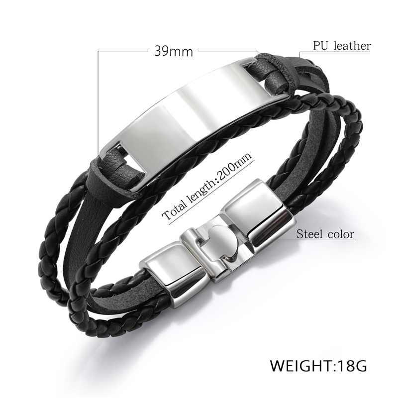 AZIZ BEKKAOUI 4 Color Fashion Multiple Layers Engrave Name Bracelet For Men DIY Vintage Leather Bracelets & Bangle Male Jewelry