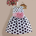2016 Summer Children's Clothes Girls Polka Dot Dress Small Wave Bow Dress Toddler Baby Clothing Cute Princess Party Dress
