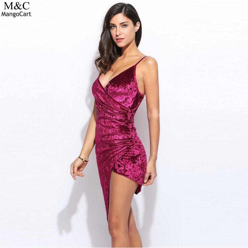 Spaghetti Strap Asymmetric Hem Party Dresses
