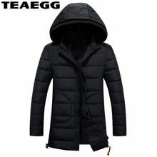 TEAEGG New Black Men's Winter Jackets Chaqueta Invierno Hombre Hooded 2017 Winter Parka Men Cotton Jacket Coat Plus Size AL114