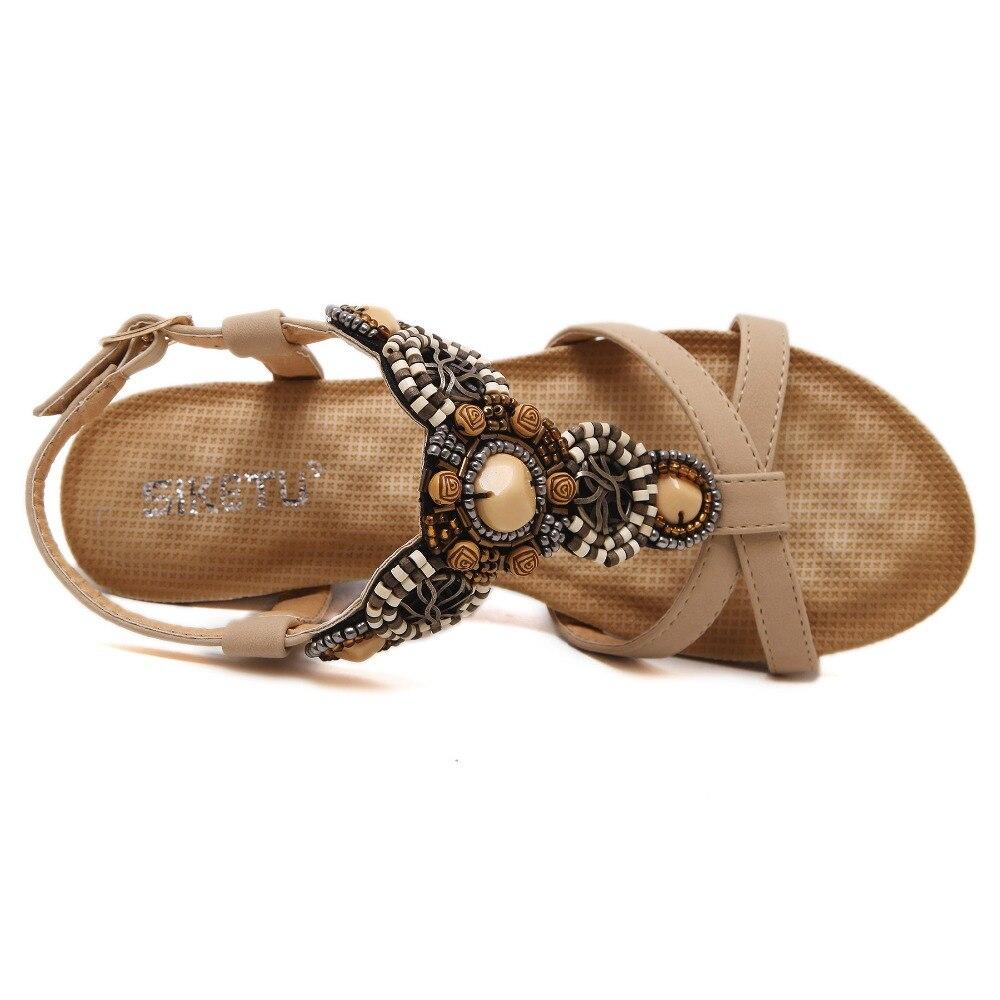 SIKETU Brand 2017 Bohemia Wedge Women Sandals Summer Vintage Rhinestone Woman Flip Flops Beach Women Shoes