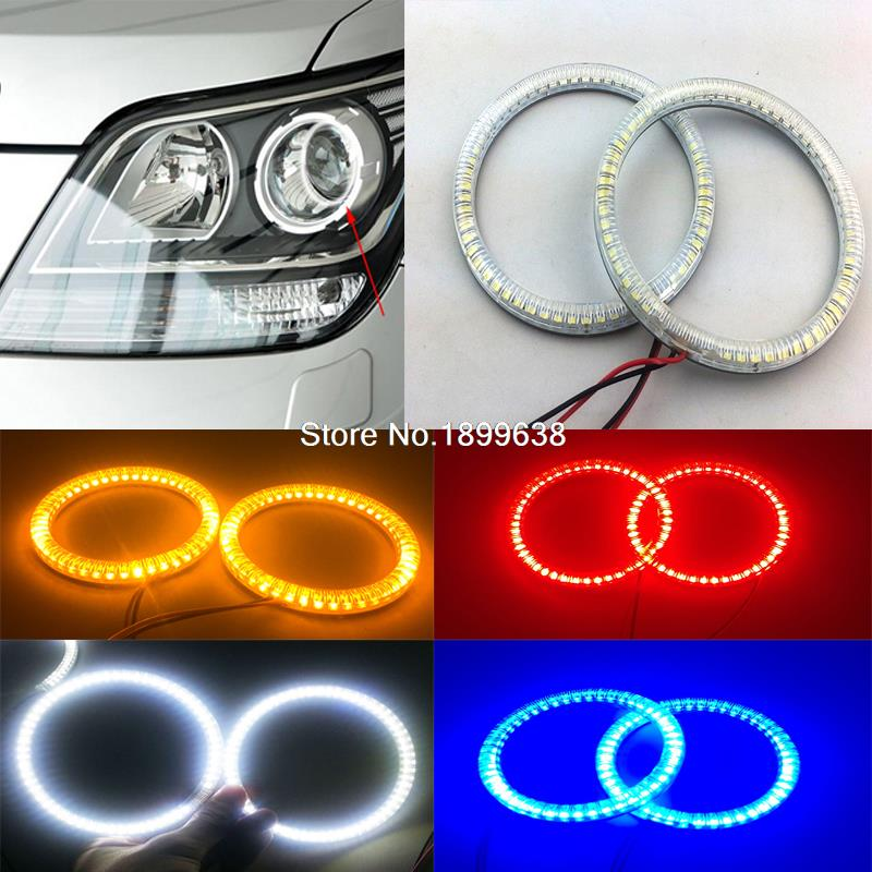 Super bright red blue yellow white 3528 smd led angel eyes halo rings car styling for Kia Borrego Mohave 2008 2009 2010 polaris rzr 900 rzr 1000 xp set led headlight with halo rings angel eyes white red yellow green blue
