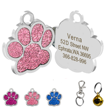 Paw Shaped Engraved Dog ID Name Tags