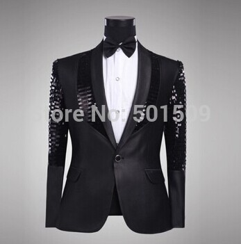 Мужские черный блёстки украшение смокинг куртка черный / ну вечеринку / сцена производительность
