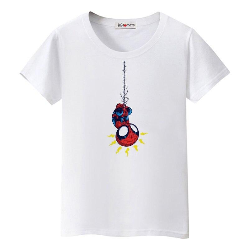 BGtomato Cartoon ספיידרמן חמוד בסגנון יצירתי מצחיק tshirt חולצה טיז העליון מזדמן נשים חדשות חמה למכירה מותג