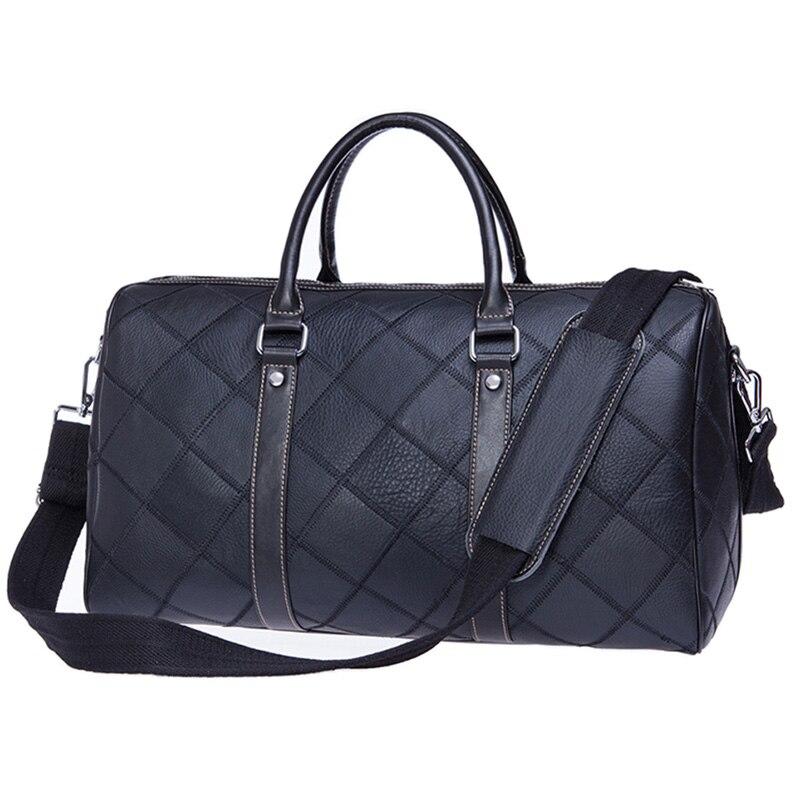 Men Travel Baggage Bag Genuine Leather Stitching Casual shoulder bag High capacity Natural cowhide handbag luggage