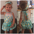 Babies Girls Golden Polka Dot Lace Romper Baby Girl summer halter Bow Rompers One-Pieces Jumpsuit Outfits Sunsuit Clothing 0-4Y