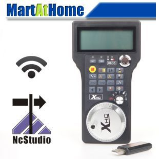 New CNC 3,4 Axis Wireless Remote Handle MPG Remote Controller for Support ( NCStudio CNC System ) #SM429 @SD new nc studio remote channel 3 axis cnc controller for cnc router whb03 whb03 s