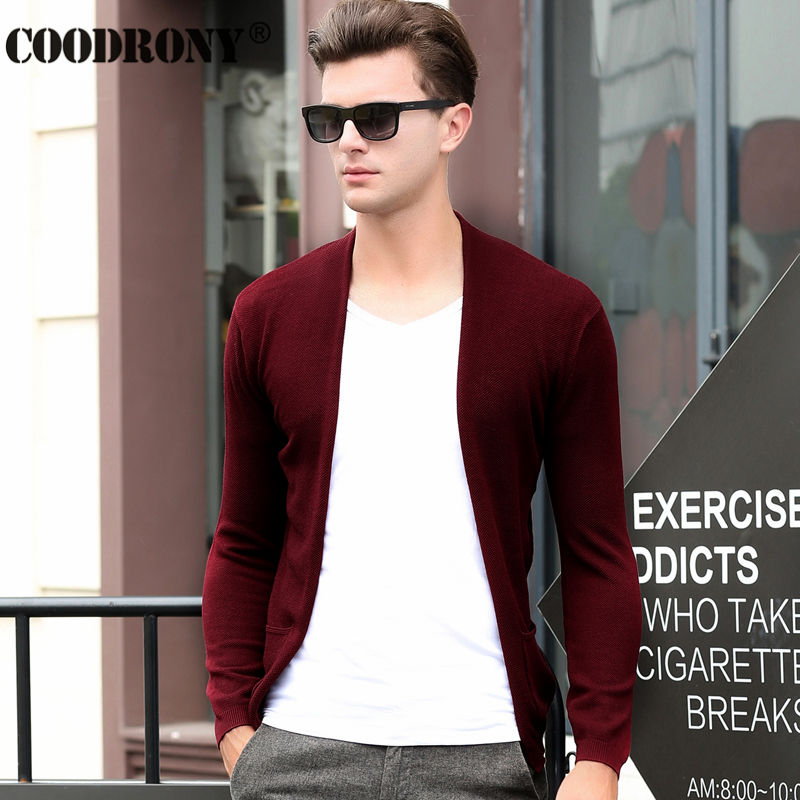 Free Shipping Autumn Winter Cashmere Cardigan Men Brand Clothing Knitted Wool Sweaters Pure Color Long Collar