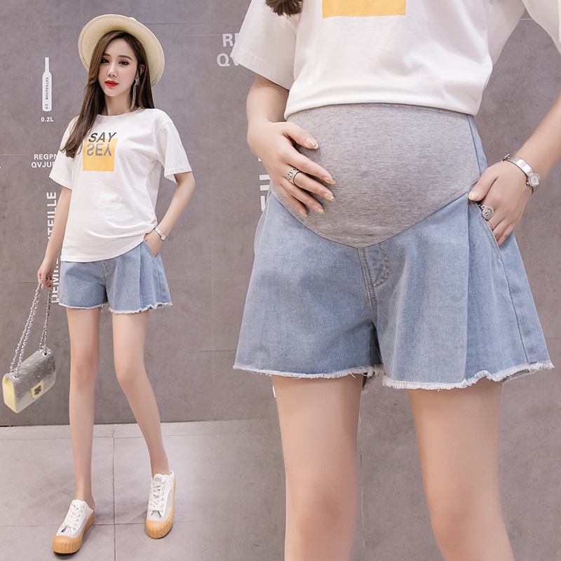 Pregnant Women's Jeans Bottom Bellbottoms Wear Three point Shorts Ropa Mujer Maternity Pregnancy Women Clothes Roupas Femininas