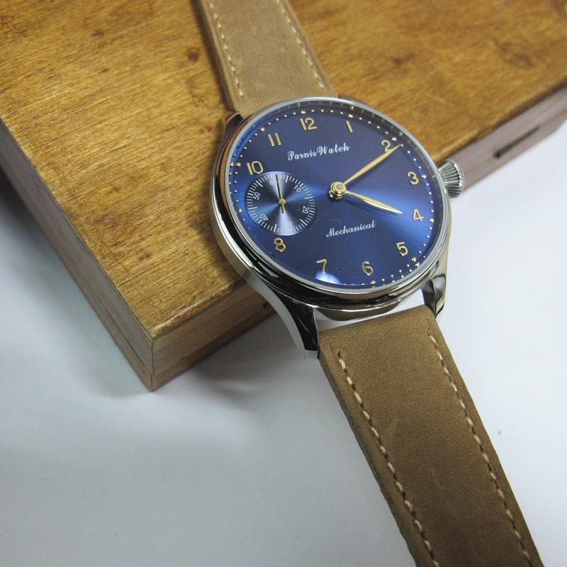 лучшая цена New Casual Men Watch 44mm Parnis Hand Winding Mechanical Men's Wrist Watches Dark Blue Dial