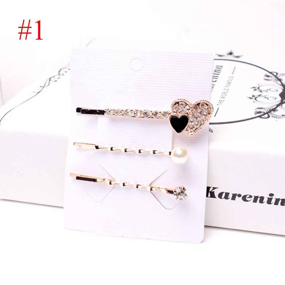 3PCS/Set Fashion Women Elegant Love Butterfly Square Round Crystal Pearl Barrettes Girls Hair Clips Hairpin New Hair Accessories