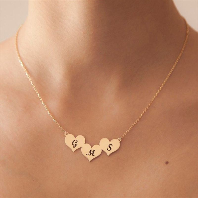 Romantic Three Heart Necklace Custom Name Initials Letters Pendant Necklace Personalized Stainless Steel Engraved Jewelry Gifts