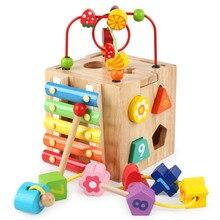 Детский деревянный красочный Кубик из бисера, лабиринт, математическое число, обучающий инструмент, счеты, вычисление, обучающая головоломка, блок, игрушка