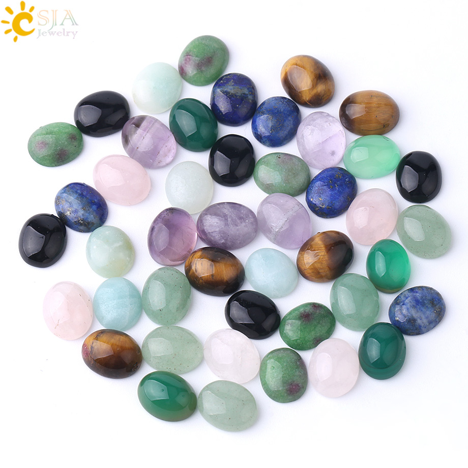 CSJA Natural Cabochon Stone Beads for Jewelry Making Needlework Handcrafted DIY Ring Earrings 8X10mm Lapis Lazuli Tiger Eye F844(China)