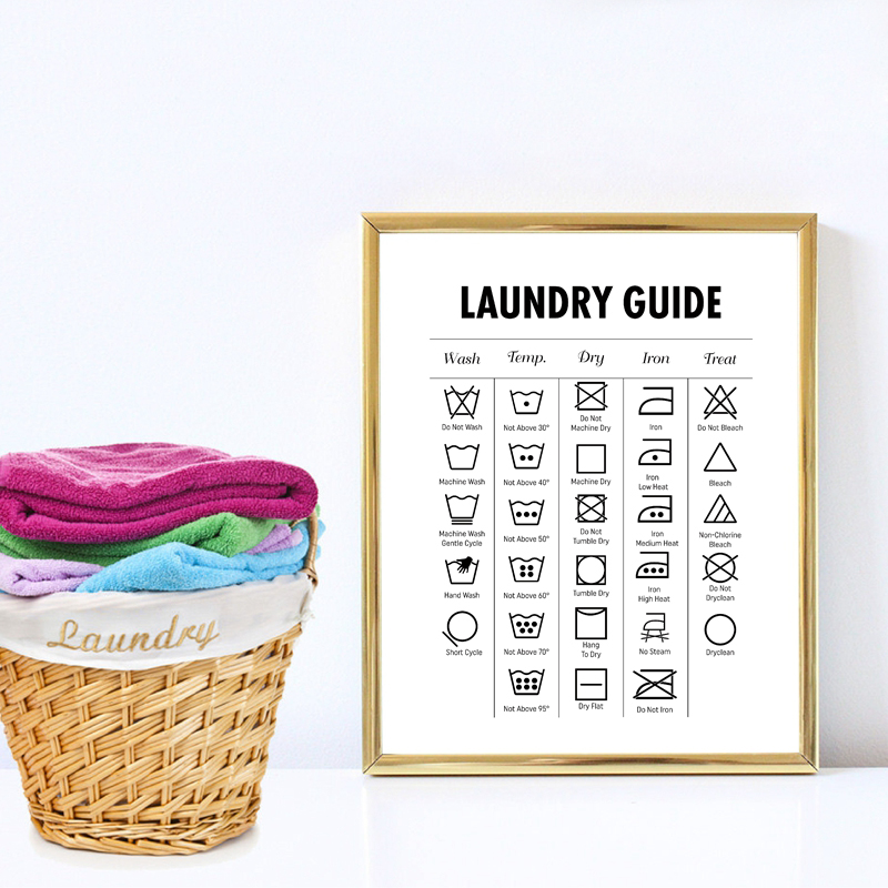 Laundry Guide Modern Wall Art Canvas Print , Laundry Cheat Sheet Canvas Poster For Laundry Room Minimalist Decor