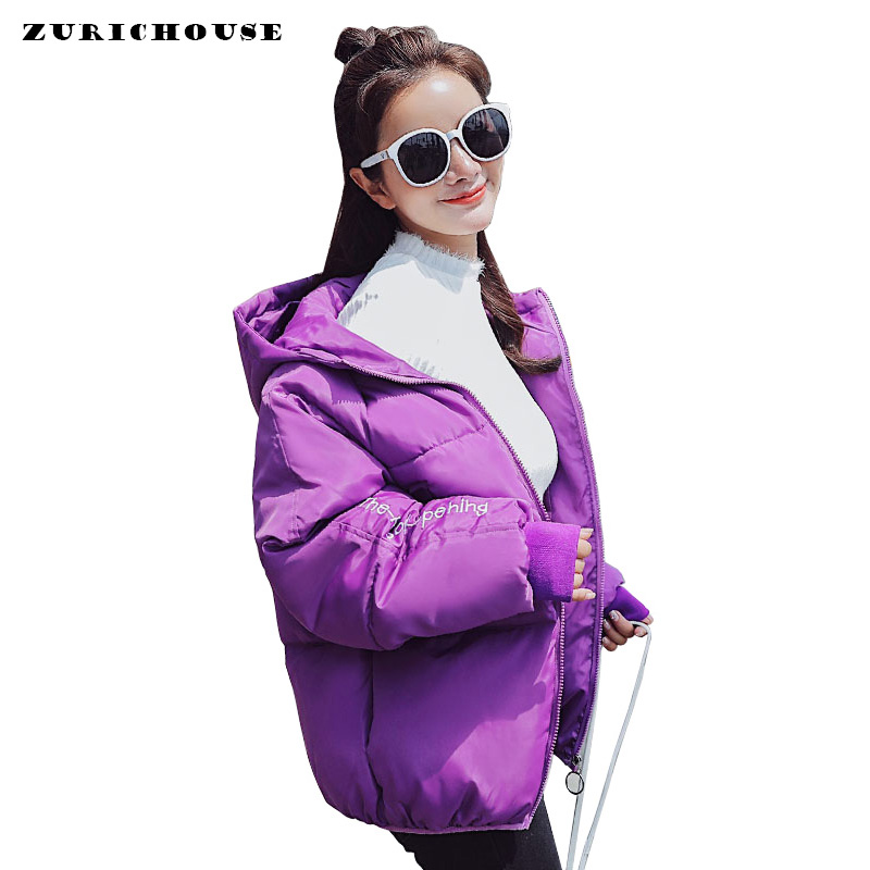 Harajuku Style Hooded   Parkas   Woman 2019 New Smiley Embroidery Short Puffer Jacket Women Winter Jackets Cotton Padded Coat