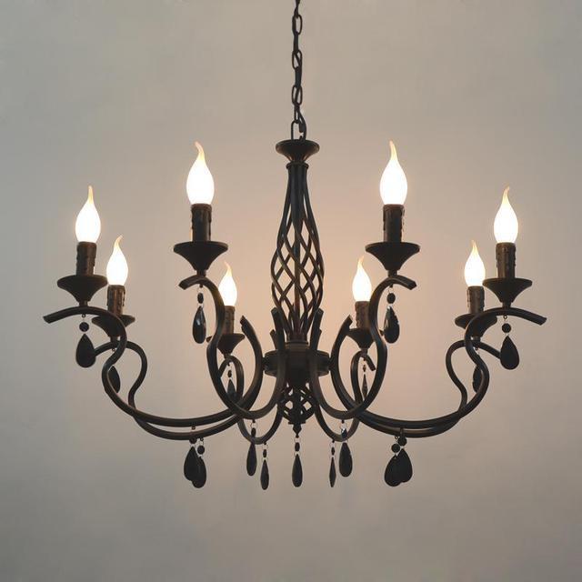 LED Rustikalen Eisen Küche Bar Cafe Beleuchtung Weiß Schwarz Blau Led  Kerzenhalter Kronleuchter Esszimmer Hochzeit Kind