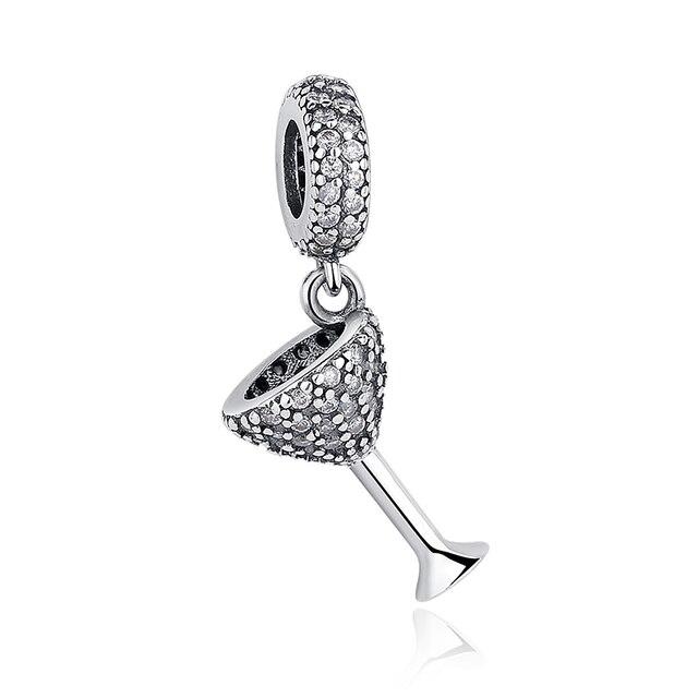 fb61321e2 925 Sterling Silver Cocktail glass pendant Charm with cubic zirconia Fits  Pandora Bracelet Necklace