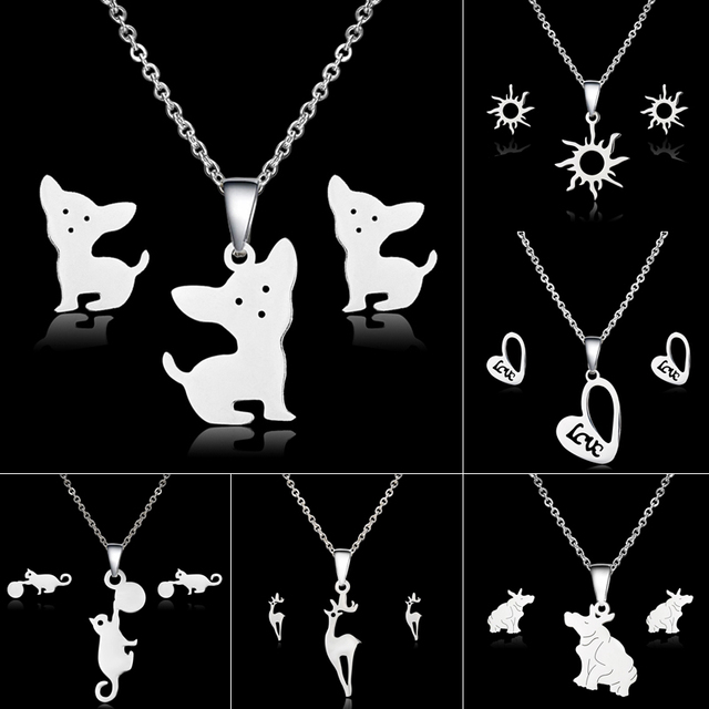 Animal Dog Cat Jewelry Sets for Women Deer Heart Stainless Steel Necklace Earrin