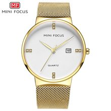 MINI FOCUS 2018 New Fashion Top Brand Stainless Steel Strap Mens Watches Business Quartz Watch Casual Clock Relogio Masculino