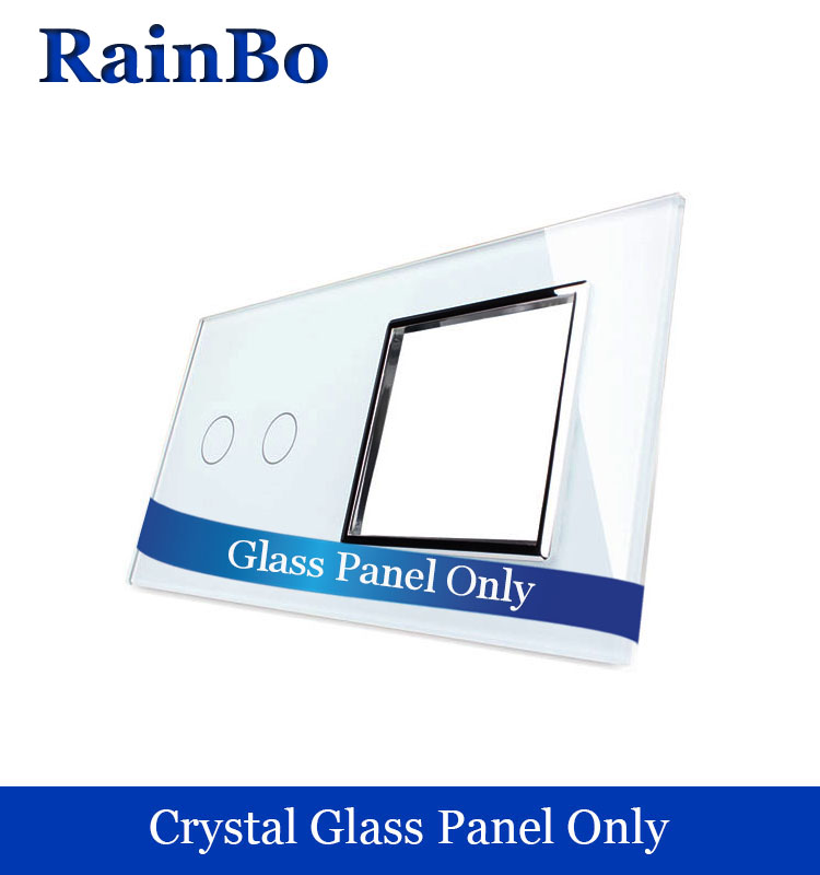 RainBo Free shipping Luxury  Crystal Glass Panel 2Frame 1gang touch wall switch  socket hole EU for DIY Accessories A2928W/B1 atlantic brand double tel socket luxury wall telephone outlet acrylic crystal mirror panel electrical jack