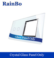 Free Shipping Luxury Crystal Glass Panel 2 Frame1 Gang Touch Wall Switch Socket Hole EU