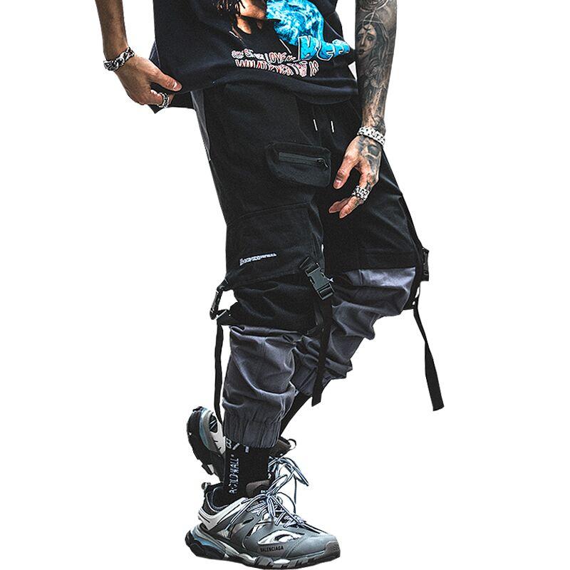 New Men Streetwear Pants Harajuku Cotton Multi-Pockets Stitching Color Cargo Pants Man Hip Hop Casual Elastic Trousers ABZ369