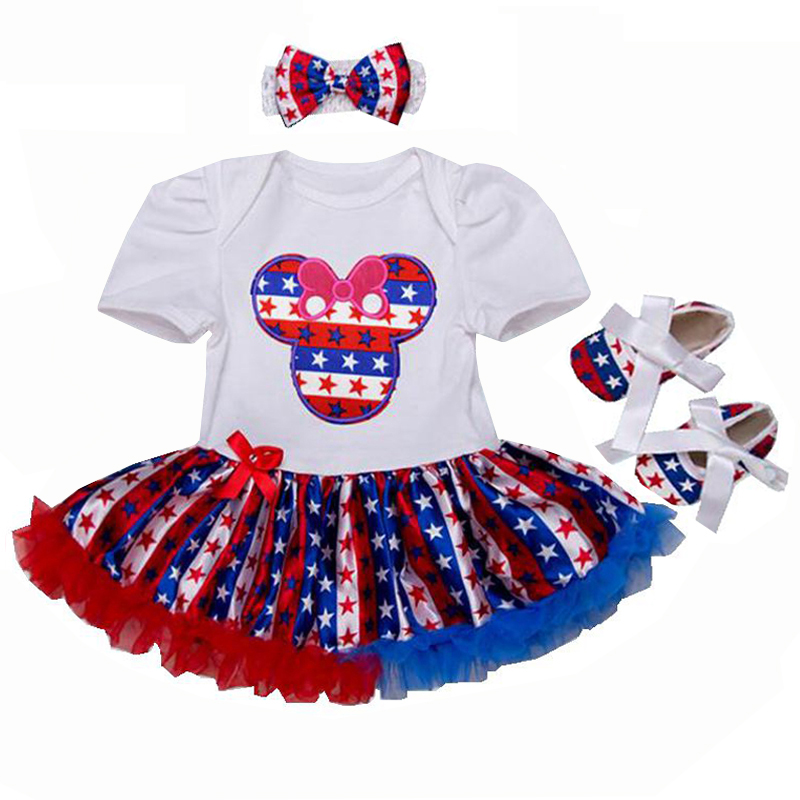 Baby Girl 4Th Of July Outfits Independence Day Clothes Lace Romper Dress Headband Crib Shoes Newborn Tutu Sets Infant Clothing