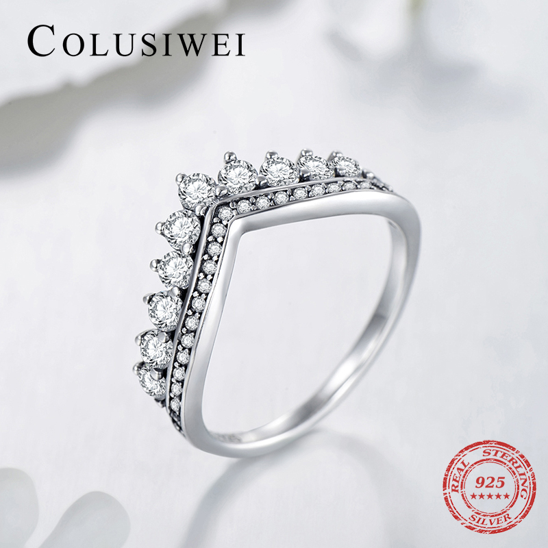 2019 New Sale Real 925 Sterling Silver Water Drop Clear CZ Stackable Classic Ring Luxury Brand Crown Wedding Engagement Jewelry