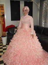 Vintage Hijab Dubai KAFTAN Lace Pink Wedding Dresses Ruffles Long Sleeve Blush Islamic Muslim Bridal Gowns Vestidos De Novias