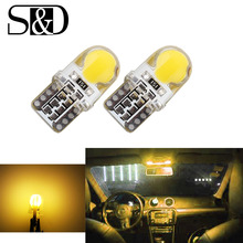 6pcs Auto T10 Yellow Amber 194 W5W  168 COB 8-SMD Silica Car LED Super Bright Turn Side License Plate Light Lamp Bulb DC12V