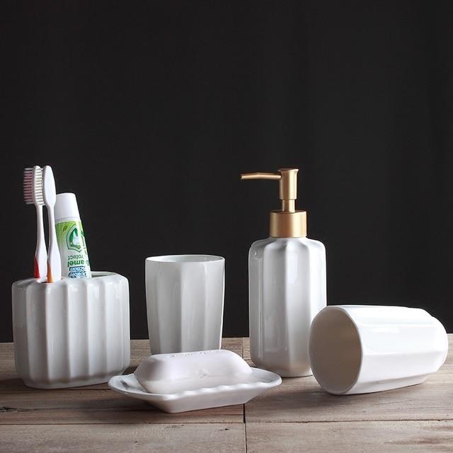 White Five Piece Set Ceramics Bathroom Accessories Set Soap