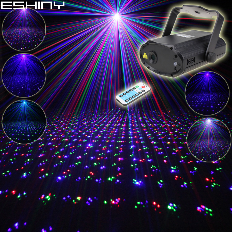 ESHINY Remote MINI RGB Laser Full Stars Pattern Projector DJ Dance Disco Bar Family Party Xmas Lighting Effect Light Show N6T179