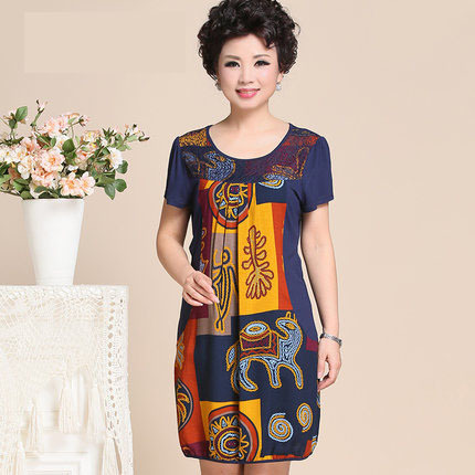1b748cb50ada9 Dress For Women Middle Age Fashion 2015 New Short Sleeve O-Neck Mother  Clothing Plus Size 40 To 50 Year Old Women Dresses Print