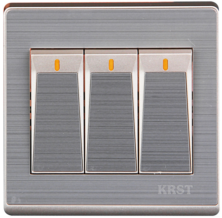 Home 86 Concealed Champagne Gold Stainless Steel Wire Drawing Three Open Single Control PC 250V 10A in Switches from Lights Lighting