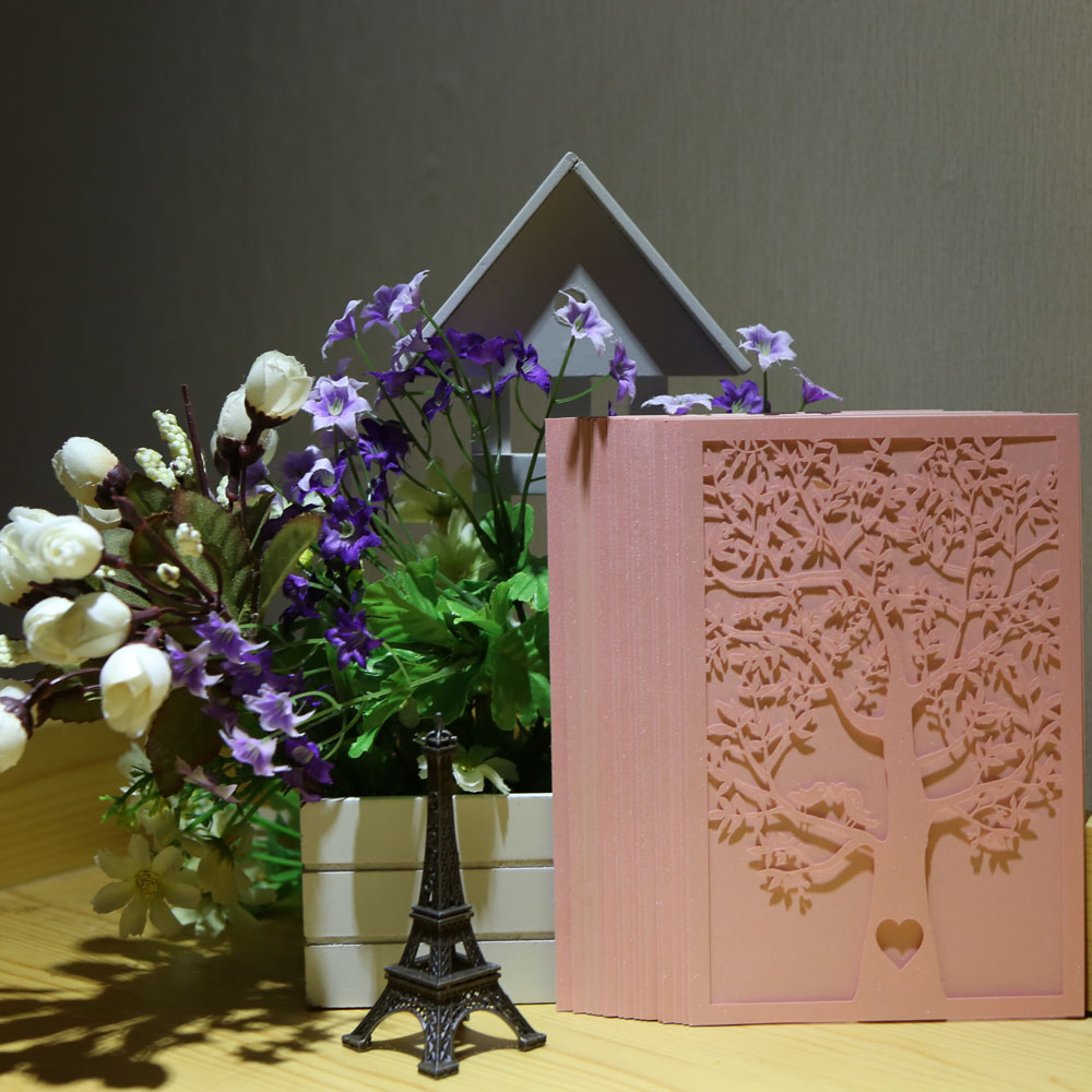 20pcs Romantic Laser Cut Wedding Invitation Card Tree Birds Carved Pattern Wedding Card Hollow Out Wedding Banquet Party Decor