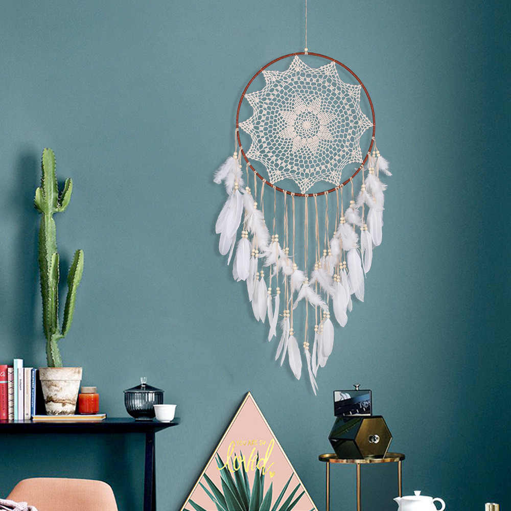 2018 Hot Sale Large Handmade Dreamcatcher White Feather Lace Indian Dream Catcher Hanging Decoration Ornament Mascot Gift &s